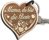endlosschenken Schlüsselanhänger Geschenk für Mama Herz mit Rose Gravur