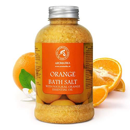 Badesalz mit 100% Natürlichem Ätherischen Orangenöl 600g - Meersalz am Besten für Guten Schlaf - Stressabbau - Beauty - Baden - Körperpflege - Wellness - Schönheit - Entspannung - Aromatherapie - Spa