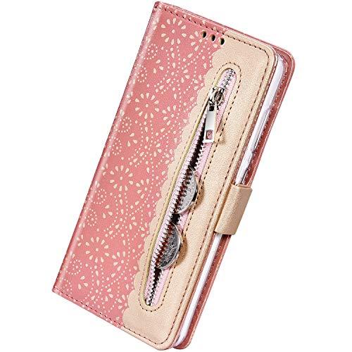 Herbests Kompatibel mit Huawei P Smart 2019 Handy Hülle Multifunktionale Reißverschluss Tasche Blumen Flip Case Brieftasche Schutzhülle Klapphülle Handschlaufe Kartenfach Magnet,Rose Gold