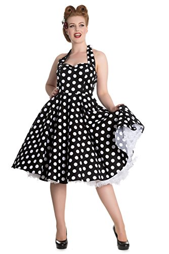 Hell Bunny Mariam 50er Jahre retro Polka Dots Swing Petticoat Kleid Rockabilly Pin Up Dress Schwarz