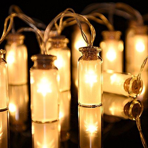 String von 10 LED Mini Flasche Lichterketten Sterne Weihnachtsbaum Garland Hochzeit