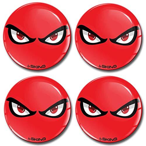 Skino 4 x 60mm Adesivi Resinati 3D Gel Stickers Auto Coprimozzi Logo Silicone Autoadesivo Stemma Adesivo Copricerchi Tappi Ruote No Fear Eyes A 7560