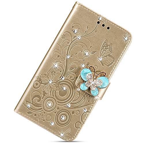 Urhause PU Leder Hülle Flip Cover Wallet 3D Ledertasche Schmetterling Kristall Strass Glitzer Leather Brieftasche Handytasche Klapphülle Lederhülle Kompatibel mit Samsung Galaxy M20,Gold