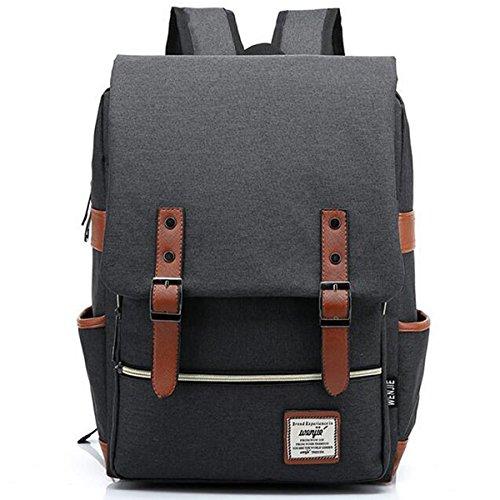Zaini casual, grande zaino scuola per computer portatile college-borsa zaino sulle spall,daypack oxford per unisex nero