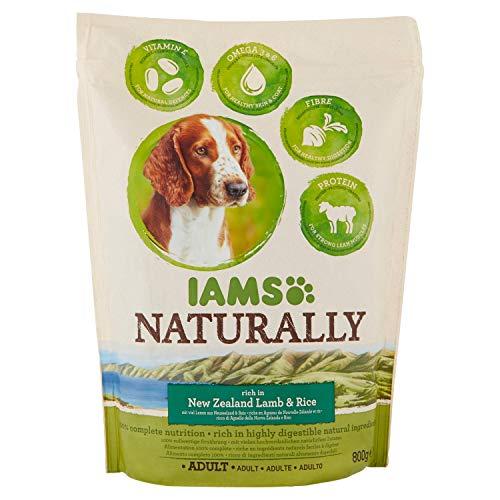 Iams Naturally, Cibo Secco per Cani Adulti di Tutte le Taglie, 1-6 Anni, Crocchette Cani con Riso e Agnello, 0.8 kg
