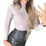 GreatestPAK Damen Shirts Langarm Stehkragen Einfarbig Glitzer Base Lässig Oberteile Art und Weise reizvolle Rollkragenpullover Schutz Beiläufiges Oberes T-Shirt