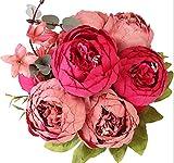 Bouquet di peonie artificiali Houda, in seta, decorazioni per la casa o per matrimoni. New dark red