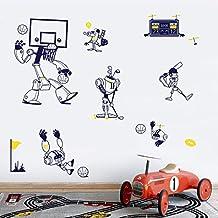 DecalMile Vinilos Deportes Pegatinas Pared Dibujos Animados Baloncesto Béisbol Robot Desmontable Decorativos Adhesivos Para Niños Habitación Infantil