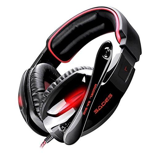 Gaming Kopfhörer Stereo-Surround-Sound-Gaming-Headset mit Mikrofon und Lautstärkeregler für PC-Spieler