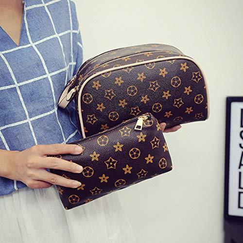 Ldyia Frauen Kosmetiktasche doppelreißverschluss muttertasche Handtasche drucken Aufbewahrungstasche DREI Farbe Damen Mini Kupplung, beige -