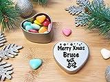Merry Xmas Bruce Heart Shaped Mini Tin Gift filled with mini coloured chocolates perfect card alternative for Bruce Fun Festive Santa Design