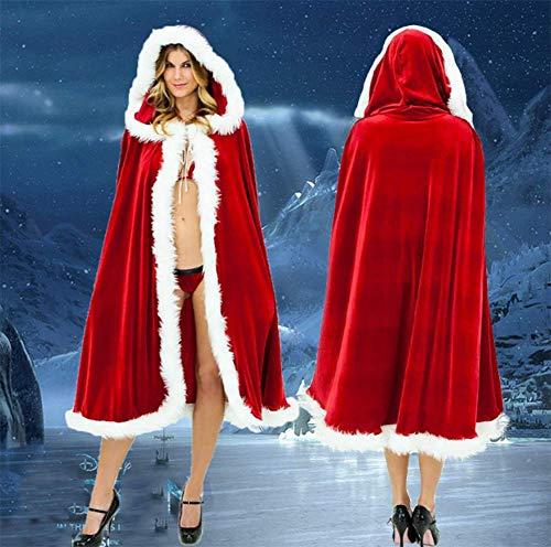Frau Claus Hat - CVDEKH Weihnachts-Kostüm für Erwachsene Frauen Hooded