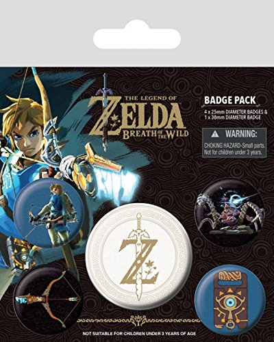 Preisvergleich Produktbild 1art1 102994 The Legend Of Zelda - Zelda Breath Of The Wild Z Emblem Button Pack 15 x 10 cm
