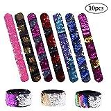 Goldge 10 Stück Meerjungfrau Armbänder 2 Farben Reversible Pailletten Magische Armband zum Kindergeburtstag, Spielzeug, Mitgebsel für Kinder