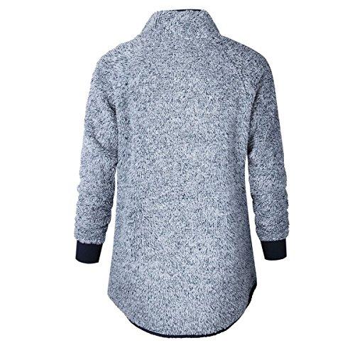 Donna Bottoni Leisure Slim Fit Pullover Hoody Sweatshirt Manica Lunga Collo Alto Cappotti Giacche Felpe Cappuccio Felpa Blu