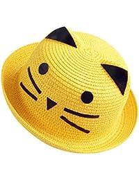 Moollyfox Sombrero de Playa Gorra Paja Verano Gato Adorable Para Niño Niña  Dorado abb5378f496