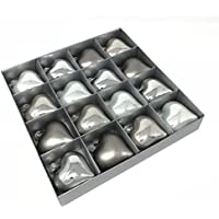 Glasherz MILLY - 16 Stück - Silber - Christbaumschmuck - Weihnachtsdeko - Herz (6,5 cm)