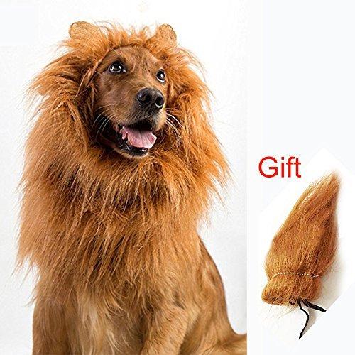 Löwenmähne mit extra Schwanz, für Halloween, Cosplay, Haar-Zubehör für Haustiere, Party, L: 61-79 cm, Hellbraun mit Ohren ()