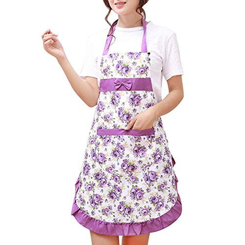 Aprons - Women Lady Floral Dress Apron Restaurant Home Cooking Anti Fouling Cotton With Pocket Pattern Clean - Dutch Cast Dress Women Cooking Utensils Holder Oven Kitchen Tools Tool Organiz