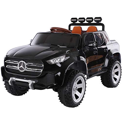 Elektro-Kinderauto 2 Sitze 12V Kinderauto Mercedes-Benz Elektroauto Kinderfernbedienung Fernbedienung, Federung LED-Leuchten Abstellraum Musik,Schwarz