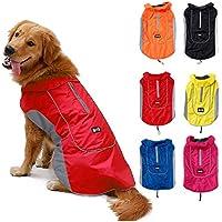 TFENG Reflektierend Hundejacke für Hunde, Wasserdicht Hundemantel Warm Gepolstert Puffer Weste Welpen Regenmantel mit Fleece (Größe L, Rot)