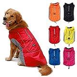 TFENG Reflektierend Hundejacke für Hunde, Wasserdicht Hundemantel Warm Gepolstert Puffer Weste Welpen Regenmantel mit Fleece (Größe XS, Rot)
