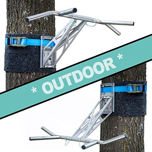 PULLUP & DIP Premium Edelstahl Klimmzugstange und Dip Stange, Mobil für Wand und Befestigung an Baum & Pfosten, für zu Hause + Outdoor im Garten, portabel für über 35 Übungen, Outdoor Paket