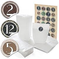 '24bianco Natale sacchettini di carta (16,5x 26x 6,6cm) e 24adesivi rotondi 4numeri da 1a 24cm