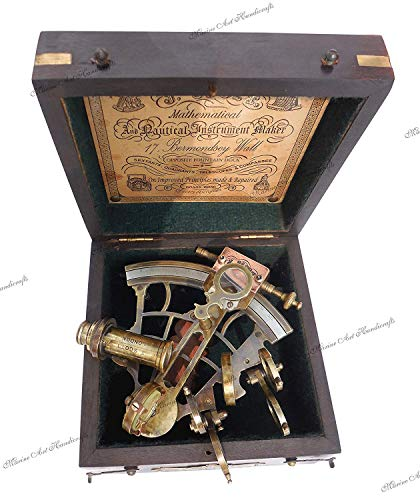 J. scott london brass ship sextant with hardwood box. c-3082