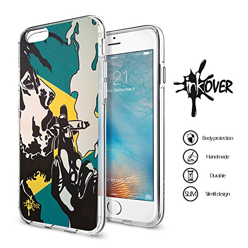 Cover iPhone 6 / 6S PLUS - INKOVER - Custodia Cover Protettiva Guscio Soft Case Bumper Trasparente Sottile Slim Fit Tpu Gel Morbida INKOVER Design Pirati Pirates Corsaro Teschio SKULL per APPLE iPhone BOB 4