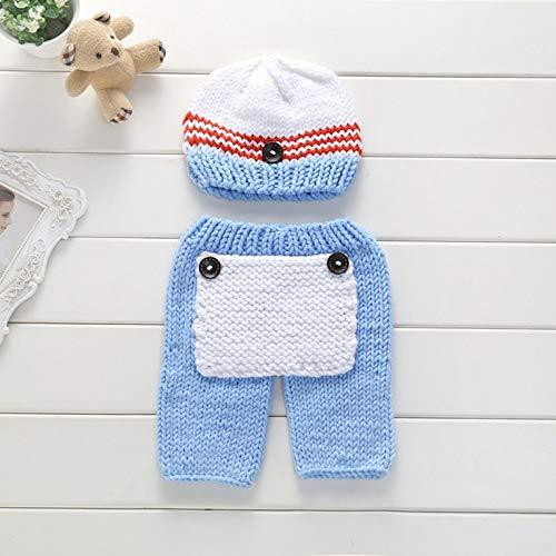 Goldyqin XDT-366 Neugeborenen Fotografie Requisiten Infant handgemachte Wolle Stricken Kleidung Cute Baby Kostüme Outfit - blau