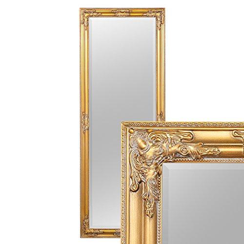 LEBENSwohnART Wandspiegel BESSA Gold antik 180x70cm barock Design Spiegel pompös Holzrahmen