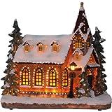 insatech Beleuchtete Kirche mit Schnee durch Fiberoptik Farbwechsel Weihnachtskirche