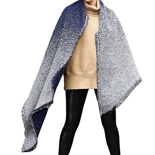 UTOVME Damen Wolle Kaschmir Feel Faschion Warm Beveled Gradient Fringed Schal Cape Blau Einheitsgröße -