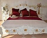 Ehebett Doppelbett Bett Schlafzimmer Barock Holzbett Jugendstil Barockbett 175 x 220 x 230 cm (Weiss)