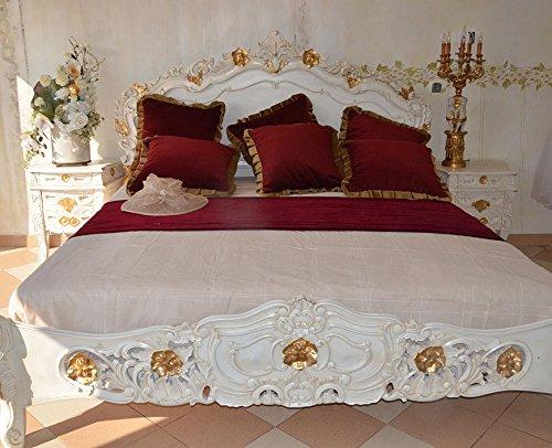 Ehebett Doppelbett Bett Schlafzimmer Barock Holzbett Jugendstil Barockbett 175 x 220 x 230 cm...