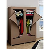 Canvas Double Wardrobe Clothes Shoes Storage Compact Portable Closet Organiser with Shelves Rack - EBS Wardrobe 106 x 43 x 156 cm Brown