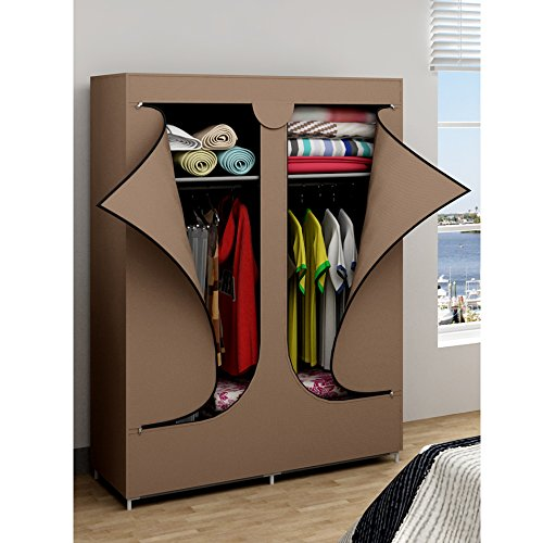 Ebs armadio salvaspazio guardaroba appendiabiti in tela portatile - 106 x 43 x 156 cm, marrone