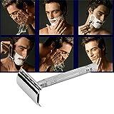 Dauerhafte Männer-Rasierapparat-bequeme Rasiermesser-alte Art-doppelte Rand-Blatt-Rasiermaschine-tragbare Haushaltsgeräte (Farbe: Silber)