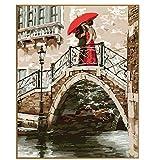 GCQBLM Amoureux du Pont Bricolage Peinture à l'huile par numéros Image sur Toile Adulte par numéros Peindre Peinture Acrylique sans Cadre 16x20 Pouces