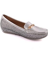 Unze Damen Bin Oku Stilvolle Slip-Ons Desined Formale Komfortable Glossy Chic Flats Slipper Bequem Karneval Abend Mokassins Pumps Schuhe Größe 3-8 - MT679 Unze Qfh4J