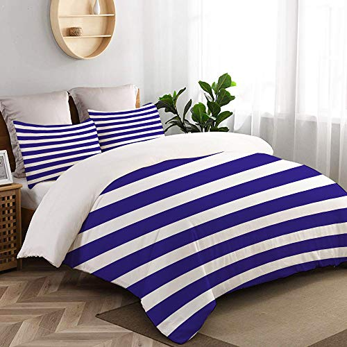 TESCCI Bedding - Duvet Cover Set, Nautical Marine Style Navy Blue and White Sailor Theme Geometric Pattern Art,Microfibre Duvet Cover Set135 x 200cmwith 2 Pillowcase 50 X 75cm - Quilt California Navy King