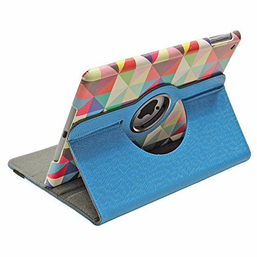 KolorFish iClass 360 Degree Rotation PU Leather Designer Printed Auto Wake/Sleep Flip Cover for Apple iPad 2017/2018, iPad Air  Blue  Touch Screen Tab