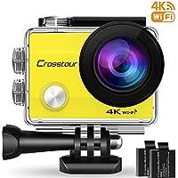 """Crosstour Action Cam WiFi Sports Aktion Kamera 4K Ultra HD 2"""" LCD Unterwasserkamera 30M 170 °Ultra-Weitwinkel mit 2 1050mAh Batterien und Zubehör-Kits für Radfahren(CT8000-Y))"""
