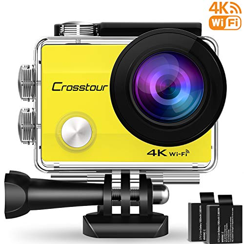 "Crosstour Action Cam WiFi Sports Aktion Kamera 4K Ultra HD 2"" LCD Unterwasserkamera 30M 170 °Ultra-Weitwinkel mit 2 1050mAh Batterien und Zubehör-Kits für Radfahren(CT8000-Y))"