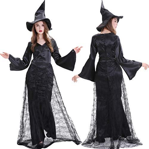carol -1 Hexen-Kostüm für Damen mit Hexen-Hut Hexen Kostüm-Set für Damen - perfekt für Fasching Karneval & Halloween Abendkleid Schwarz (Superman Returns Alle Kostüm)