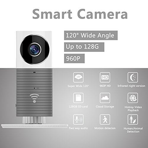 Galleria fotografica Fancytech New Clever Dog Smart Camera con 960P HD 120 ° Wide Angel Lens Support TF Card (fino a 128 G) Mini sicurezza wireless Baby monitor telecamera di sorveglianza-Grigio