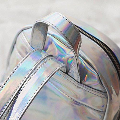 Familizo Zaino tracolla mini corsa dello zaino di cuoio da donna Argento
