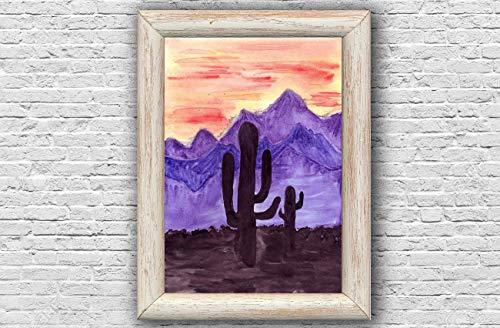 Malerei Original Aquarell Saguaro Nationalpark Arizona USA -