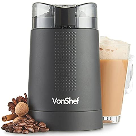 VonShef Coffee Grinder – Grind Espresso Beans, Spices, Nuts - Powerful 150W Electric Motor & Tough Stainless Steel Blades